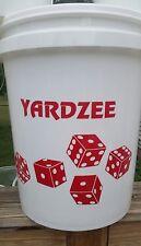 Yardzee Outdoor 5 Cedar Wood Lawn Yard Dice Game Deluxe Set w/ Burnt Dots RED