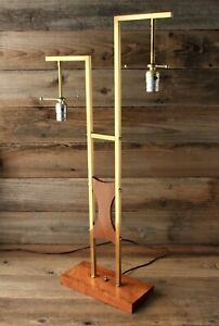 Unique Mid Century Modern Brass & Teak Lamp