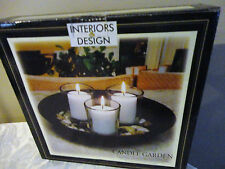 Interior Design Candle Garden Set Wooden Bowl New One Candle Is Slightly Chipped