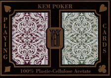 2 Deck Kem Jacquard Burgandy Green Wide Poker Size Regular Index Playing Cards