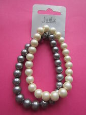 Set of 2 x Blue & Cream Glass Pearl Round Beads Elastic Bracelets New with Tags