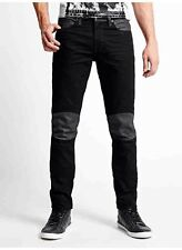 Guess Slim Tapered Moto Black Jeans In Smokescreen 2 Wash Size 40