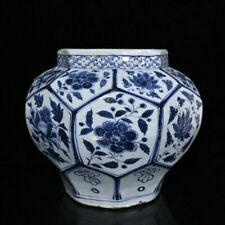 China  Yuan dynasty  Blue and white  Peony pattern  Eight sides  Porcelain jar