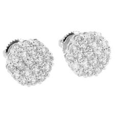 Mens Womens Cluster Set Earrings Simulated Diamonds White Gold Tone Screw Backs