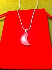 Half Moon Rose Quartz Gemstone Necklace Pendant On Silver Snake Chain