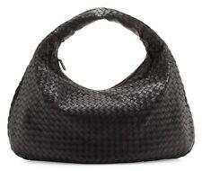 Authentic Bottega Veneta Intrecciato Woven Nappa Leather Hobo Medium Bag - Black