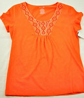 women's St. John's Bay orange top size medium orange with bling short sleeves