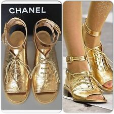 Vintage CHANEL Spring 2015 Gold leather Lace Up buckles Ankle Sandals Size 37.5