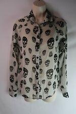 Women's Fun & Flirt Size XS Button Up Sheer Skull Blouse Top