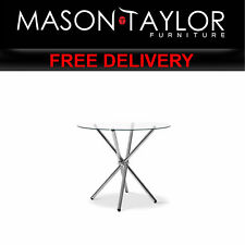 MT Round Dining Table with Tempered Glass - Silver DINING-B-T04-TP AU