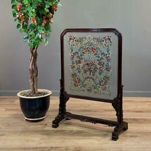 Antique Edwardian Large Tapestry Carved Mahogany Chippendale Style Fire Screen