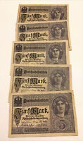 Lot Of 5 X Germany Banknotes. 5 Mark. Dated 1917. P56. Vintage Set.