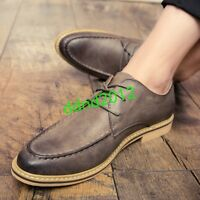 Mens leather round Toe Lace Up Formal Casual Brogue Shoes oxford