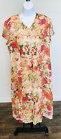 Coldwater Creek Floral Shortsleeve Dress 14 Petite