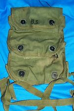 WWII 1945 3 Grenade Pouch Pistol Belt Triple Case US USGI Tulsa WW 2 II OD Green
