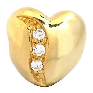 De Buman Yellow Goldplated Sterling Silver Cubic Zirconia Heart Charm Bead