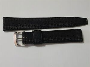 AUTHENTIC NOS 1960'S TROPIC PERFORATED 19MM SWISS BLACK DIVE STRAP STRAIGHT END