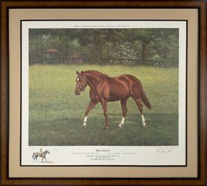 Secretariat at Claiborne Farm, Unique Triple Signed Richard Stone Reeves Print
