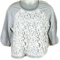 Chicos size 2 knit top gray lace front pullover 3/4 sleeve scoop neck womens