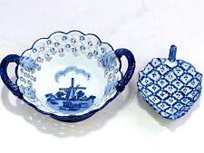 Damero OTS azul de Delft de Molino De Viento Holanda Plato & hoja en forma de plato blanco azul