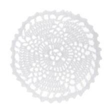 Cotton Hand Crochet Lace Floral Round Doily Cup Mat White Wedding Placemats