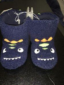 NWT Fuzzy Monster Cat  & Jack Slipper XL (11/12) Blue