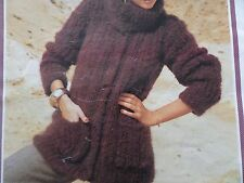 "Knitting Pattern Womens Ladies Jacket Cardigan Polo Neck 32-38"" Chunky Vintage"