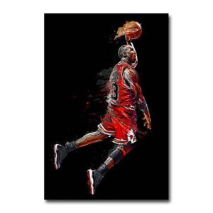 Michael Jordan MVP Fly Dunking Basketball Silk Poster Canvas Wall Art Print24x36