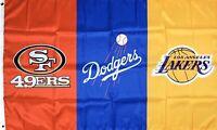 San Francisco 49ers Los Angeles Dodgers Lakers Flag 3x5 ft Banner NFL MLB NBA