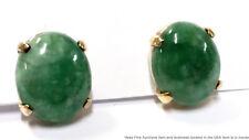 Vintage Jade Jadeite 14k Gold Cabochon Stud Earrings Natural Antique Asian