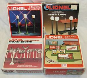 Lot of Lionel Accessories: Street Lamps, Road Signs, Billboards O Gauge
