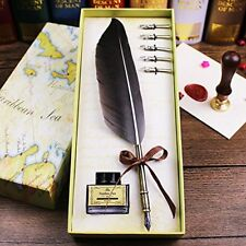 Quill Pen, Antique Feather Luxury Quill Pen And Ink Set (copper)