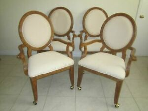 Dining Arms Medalion  Chair Wood Frame Upholstered Seat On Wheels Set of 4