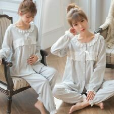 Sweet Cotton Patchwork Lace Maternity Nursing Sleepwear Sets For Pregnant Women