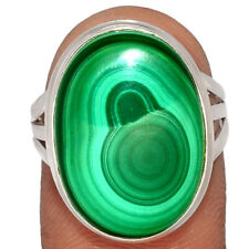 Bulls Eye Malachite 925 Sterling Silver Ring Jewelry s.7.5 BR54915