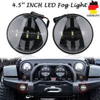 Paar 4,5 Zoll LED Nebelscheinwerfer Zusatzscheinwerfer Lampe Schwarz für Harley