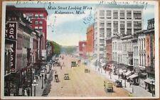 Kalamazoo, MI 1915 Postcard: Main Street/Drug Store/United Cigars- Michigan Mich
