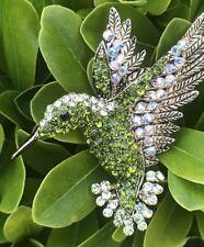 Green Crystal Rhinestone Hummingbird Pin Brooch Bird Fashion Jewelry Gold Tone