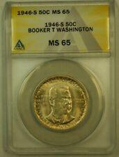 1946-S Booker T Washington Commemorative Half Dollar 50c ANACS MS-65