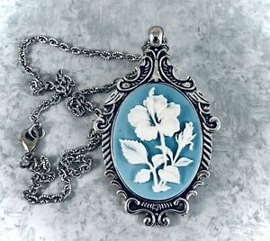 White HIBISCUS FLOWER CAMEO SILVER PENDANT NECKLACE Wedgwood Blue