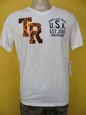 NWT True Religion Ikat 2002 V Neck SS Tee, White, Size M, Retail Price $68
