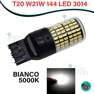 LAMPADINA AUTO T20 W21W CANBUS 144 LED 3014 LUCE FRECCE E POSIZIONE BIANCA