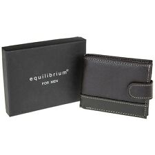 Equilibrium Men's man money leather Wallet With Tab brown gift boxed present