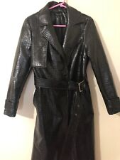 Topshop Black Crocodile Croc Embossed Vinyl Trench Coat UK 10 S M SOLD OUT