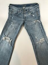 """Silver Jeans Women's Lola 17"""" Low Rise Destroyed Distressed Tag 28x31 Fits 31x30"""