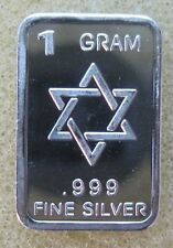 "1 GRAM .999 SOLID SILVER BULLION MINI ART-BAR:  "" STAR OF DAVID """