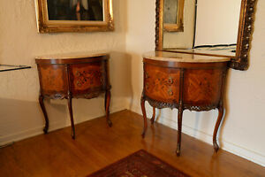 Pair of Louis XV Style Marble Top Demilune (Half Moon) Tables