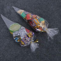 100x Clear Cellophane Cone Bags Twist Ties Large size Party Sweet Cello Candy sf