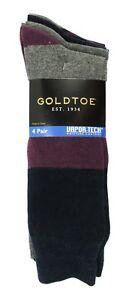 GOLD TOE 4 PAIRS COLOR BLOCK VAPOR-TECH MOISTURE CONTROL GREY BLUE CREW SOCKS