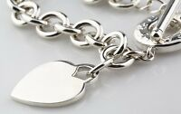 """Tiffany & Co. Sterling Silver Blank Heart Tag Toggle Necklace 15.5"""" Ret. $475"""